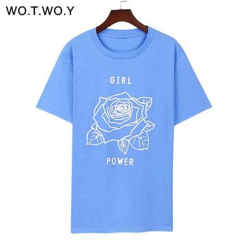 Feminism T Shirt Girl Power T shirt Feminist Inspirational T shirt Women Tops Tee Shirts Rose