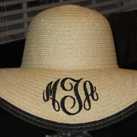 Monogrammed Derby Hat - Floppy Black Outline