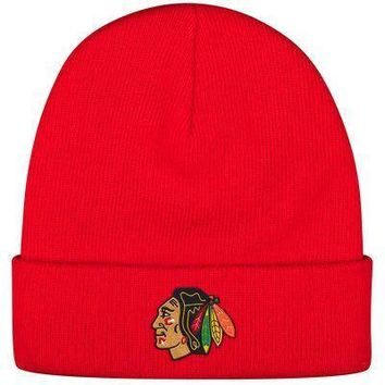 Men's Chicago Blackhawks Reebok Red Basic Cuffed Knit Hat
