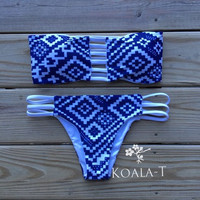 Reversible Strap Back White & Navy Tribal Print Bandeau Brazilian Cut Bikini