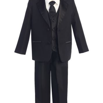 Boys Black 2-Button Tuxedo w. Vest & Necktie Color Choice 3m-14