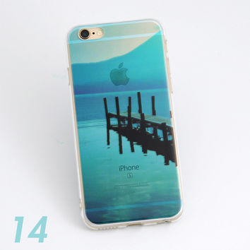 Beautiful Bridge To Ocean Scenery Print Soft TPU Transparent Phone Back Case Cover Shell For iPhone 5 5S 6 6s 6 Plus 6s Plus 7