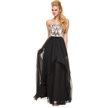Winter Formal Gown Black Nude Multi Layer Chiffon Strapless