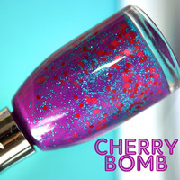 Nail Polish: Cherry Bomb  -  Glitter Nail Polish / Lacquer, Varnish, Polish