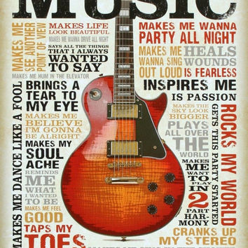 Music Inspires Me Distressed Retro Vintage Tin Sign 13 x 16in 16x12.5 inches