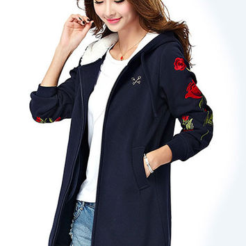 Rose Flower Embroidered Thick Cashmere Hooded Coat