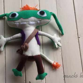 "Handmade Fleece Bob Goblin Inspired Doll from Wallykazam - 12"" Tall"