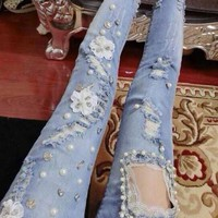 Buy Fancy Show Embellished Skinny Jeans | YesStyle