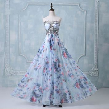 Chiffon Sweetheart Applique Party dresses Floral Flower Printed Formal Long evening dress