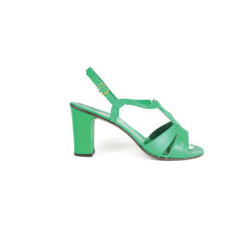 1970s Green Leather Sandals