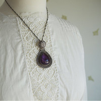Vintage 925 Sterling Silver Pendant Necklace / Amethyst Glass / Teardrop Cabochon / Filigree / Large