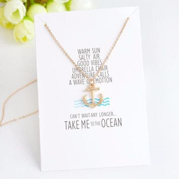 Cool Gold Tone Anchor Dainty Pendant Charm Necklace Gold Tone on Message Card