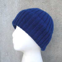 100% Cashmere Hat, Knit, Navy Blue, Beanie, Ribbed, Luxury, Gift for Him/Her