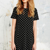 Cooperative Flower Crepe Tee Dress in Black - Urban Outfitters