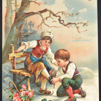 Christmas Postcard, Christmas Children, Christmas Ephemera, Antique Christmas Card, Holiday Post Card,German Christmas Card, Germany Card