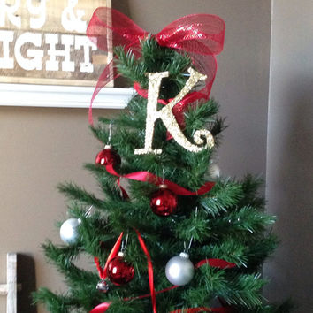 "Decorative 8"" Gold Monogram Christmas Tree Topper, Letter Wreath, Initial, Wedding Decor, Holiday Decor, Front Door Letter,"