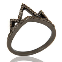 Crown Design Diamond Ring Black Oxidized Sterling Silver Loving Ring