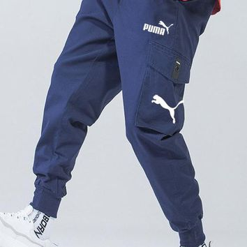 PUMA autumn and winter new men's loose trend beam pants pants overalls Blue