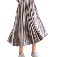 Autumn Winter Fashion Retro Pleated Suede Skirts 2017 Casual Style Long Midi Skirts Female A-Line High Waist Skirt Plue Size 6XL