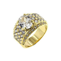 Gold Oval Cubic Zirconia Ring