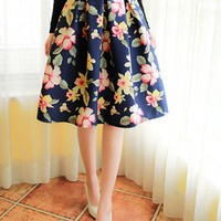 Navy Floral Printed Pleated Skater Skirt