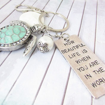 Sea Turtle Keychain/Love Quote Keychain