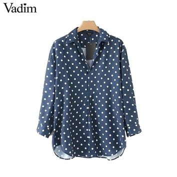 Women cute polka dots loose shirts long sleeve turn down collar blouse ladies chic tops