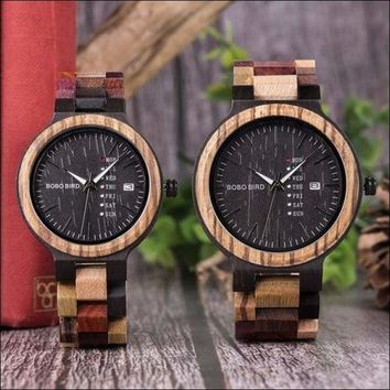 P14 Antique Mens Wood Watches Date and