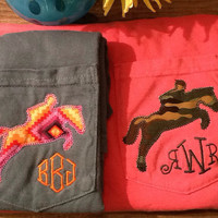 Jumping Horse applique monogram tee