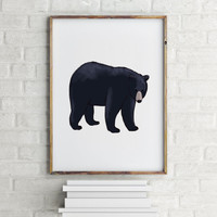Modern Abstract Black and White Animal Print, Printable Art, Nursery Decor Bear, Bear Print, Woodlands Nursery, Wilderness Bear Wall Art