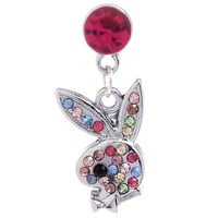 1x Multicolor Rhinestone Playboy Bunny Dust Proof Dust Plug iPhone Speaker Plug Plugy
