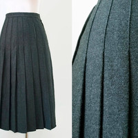 Grey Pleated Midi Skirt - Vintage Skirt - Women Preppy College Work Office - XS Small