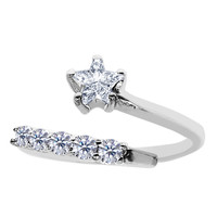 Sterling Silver Rhodium Plated Fancy Star With CZ By Pass Style Adjustable Toe Ring