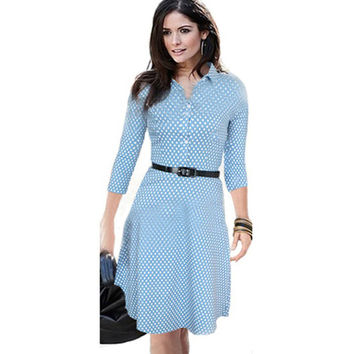 New 2017 Fashion Women Summer Dress Dots Elegant Brief Casual Dresses Light Blue Turn-Down Collar Fit and Flare Dress with Belts
