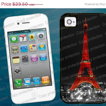 SALE Red Eiffel Tower Paris by night iPhone tough case - Pretty iPhone 4, iPhone 5 case, 2 piece rubber lining Made in USA