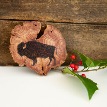 Wood Burned Bison on Cedar Heart.  Woodland Animal Ornament or wall hanging. American Buffalo