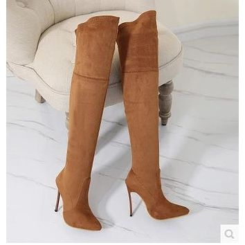 Suede Stiletto High Heel Pointed Toe Zipper Over The Knee  Boots