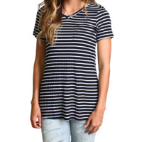 Black Stripe Piko Pocket Tee