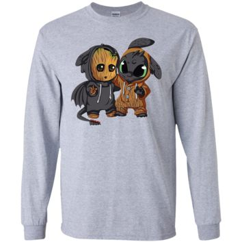 Groot And Toothless LS Ultra Cotton T-Shirt