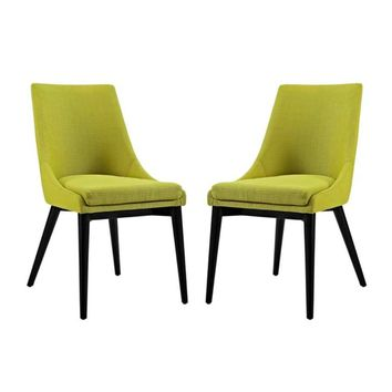 Viscount Set of 2 Fabric Dining Side Chair, Wheatgrass