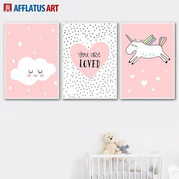 Cartoon Unicorn Love Cloud Wall Art Canvas Painting Nordic Posters And Prints Nursery Animal Wall Pictures For Kids Room Decor