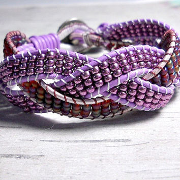 Lavendar Rudy Red Braid Leather Bracelet, Leather Bead Bracelet, Women's Bracelet