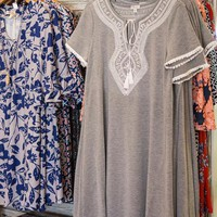 Harper Embroidered Dress, Heather Grey