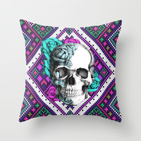 Rose skull on aztec pixel pattern Throw Pillow by Kristy Patterson Design