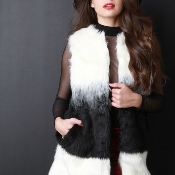 Two-Tone Faux Fur Vest