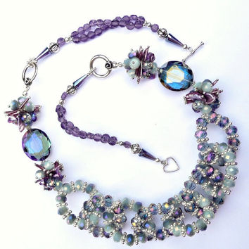 25% OFF STOREWIDE SALE Crystal Statement Necklace - Mystic Purple & Grey Crystal Garland Necklace with Silver and Pearl Accents