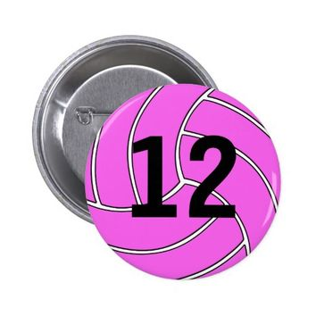 Custom Cute Pink Volleyball Button Pin