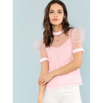 Puff Sleeve Sheer Mesh Blouse With Cami Top