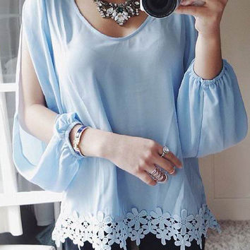Long Open Sleeve Top with Lace