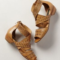 Abbey Lasercut Sandals by Anthropologie Sand